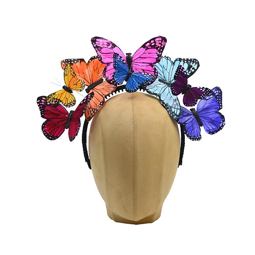 "The ""Anna"" - Rainbow Butterfly Fascinator Headband"