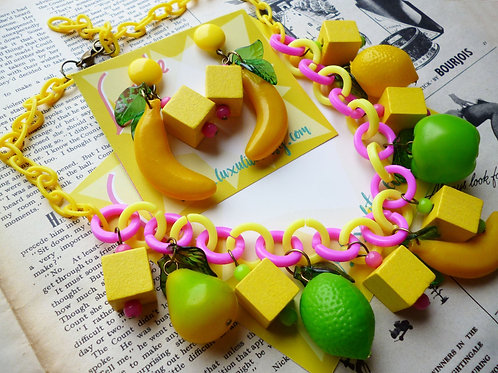 Banana Tutti Frutti What A Cutie! Tropical Fruit Salad Earrings and/or Necklace