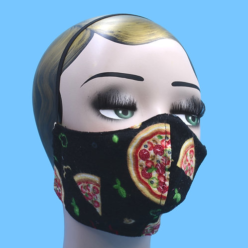 Pizza Print Mask w/ Filter Pocket, Nose Wire