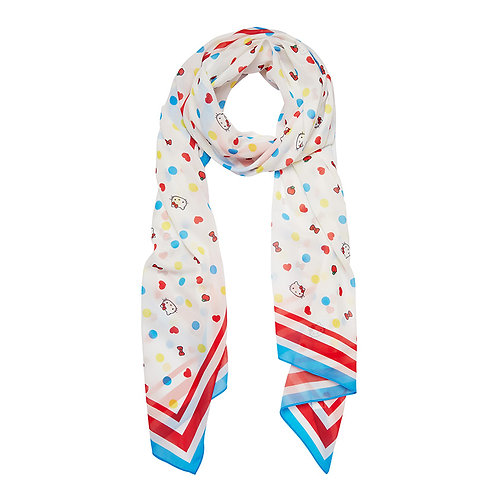 Hello Kitty Polka Dot Large Neck Scarf by Erstwilder | White Multicolored
