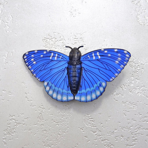 Bluebird Silver Moth Brooch by MissJ Designs   Butterfly