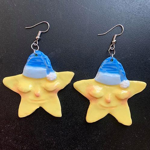 Sleepy Baby Stars Earrings by Faerie Dust Crafts | Handpainted Clay Jewelry
