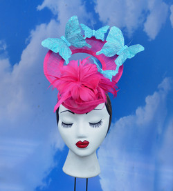Pink Turquoise Butterfly Hat