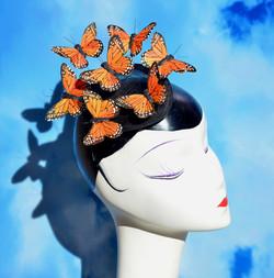 Orange Monarch Butterfly Fascinator
