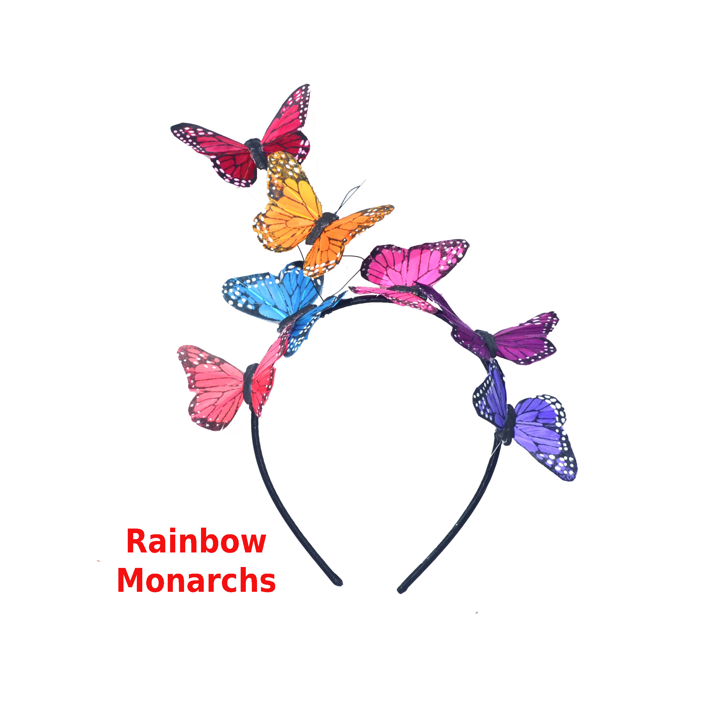 Rainbow Monarch Butterfly Headband Fascinator by Fab Hatters