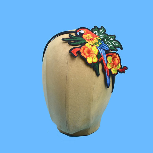Red Parrot Headband w/ Flowers & Leaves | Tiki Tropical Pinup | Parrothead