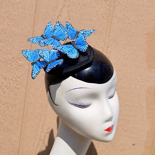 Blue Monarch Feather Butterfly Fascinator Hat
