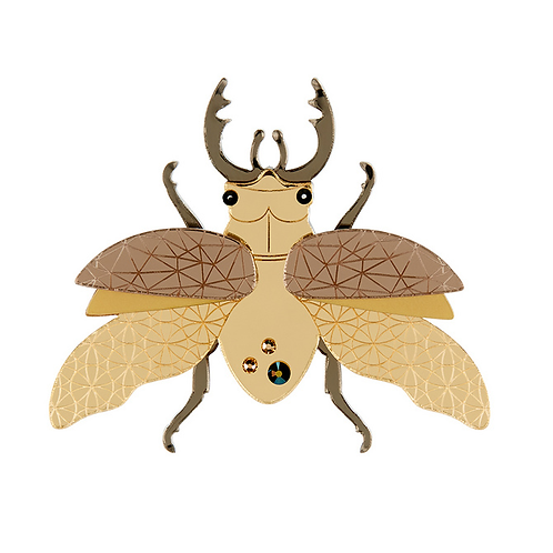 Insect Brooch by Little Moose | Gold Stag Beetle