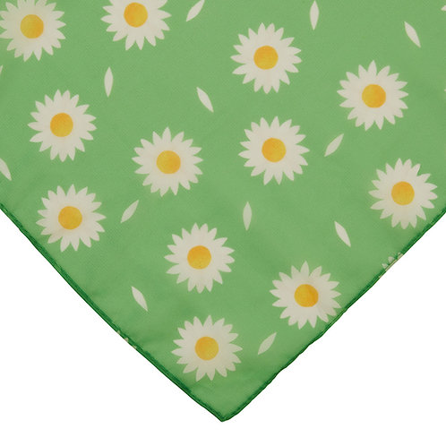 She Loves Me Daisy Head Scarf | White Flowers on Green