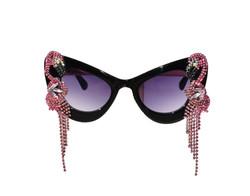 Black Rhinestone Flamingo Cat Eye Sunglasses
