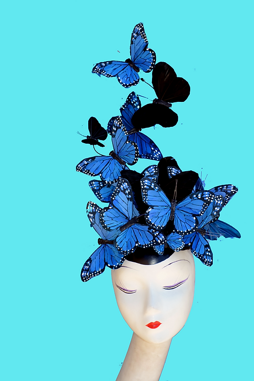 "Blue & Black Dramatic ""Madame Butterfly""  Fascinator Hat"