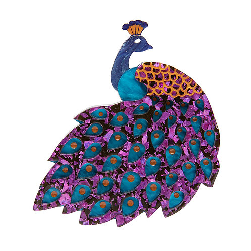 Le Peacock Royal Brooch by Erstwilder   Purple Blue Peacock