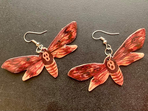 Death Heads Moth Earrings by Faerie Dust Crafts | Handpainted Clay Jewel