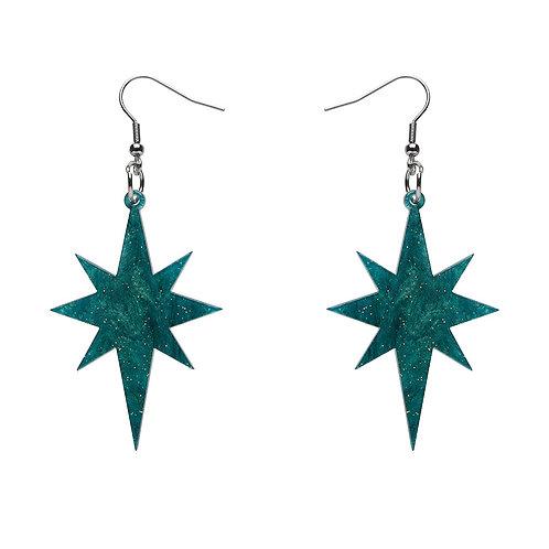 Starburst Ripple Glitter Resin Drop Earrings - Emerald