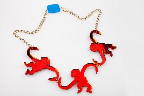 Red Barrel o' Monkeys Statement Necklace by Designosaur