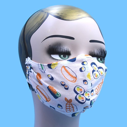 Japanese Cartoon Sushi Print Mask w/ Filter Pocket, Nose Wire
