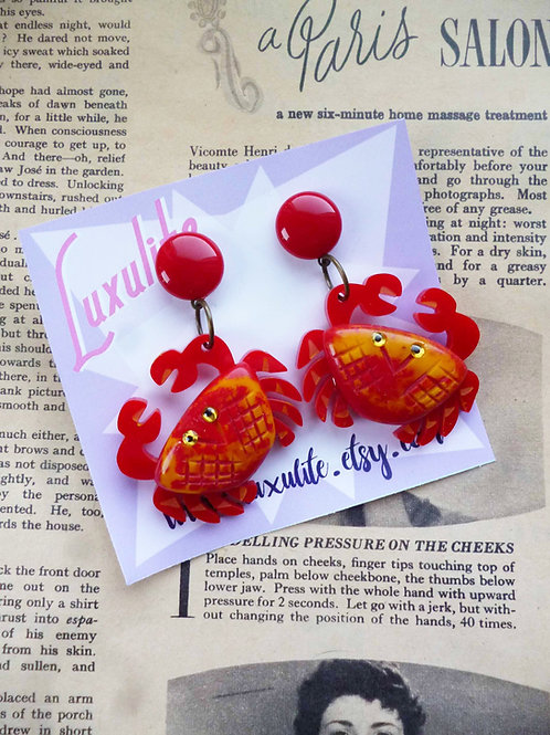 Don't Worry, be Crabby! Novelty Red Crab Earrings