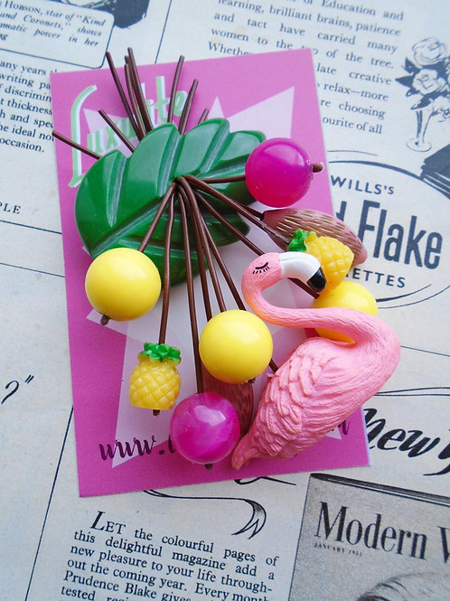 Fabulous Flamingo and Tropical Pineapples Brooch by Luxulite