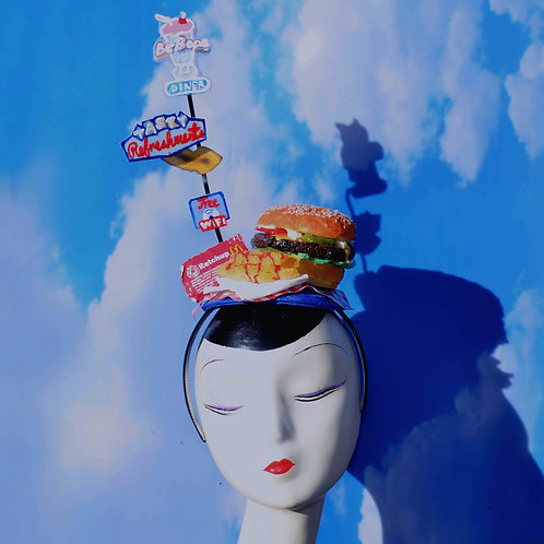 Burger & French Fries Retro Drive-In Diner Costume Headpiece w/ Neon Signs