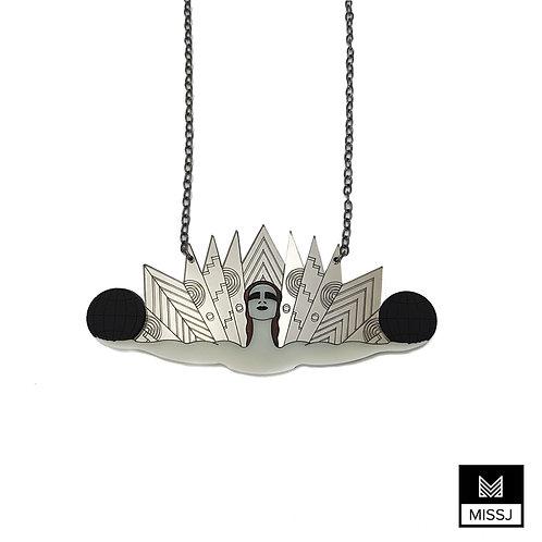 Art Deco Cabaret Dancer Necklace in Gold & Silver by MissJ Design