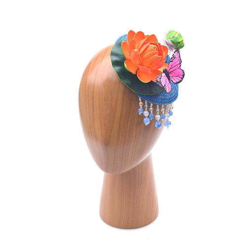 Orange Lotus (Water Lily) Beaded Fascinator Hat with Butterfly & Frog