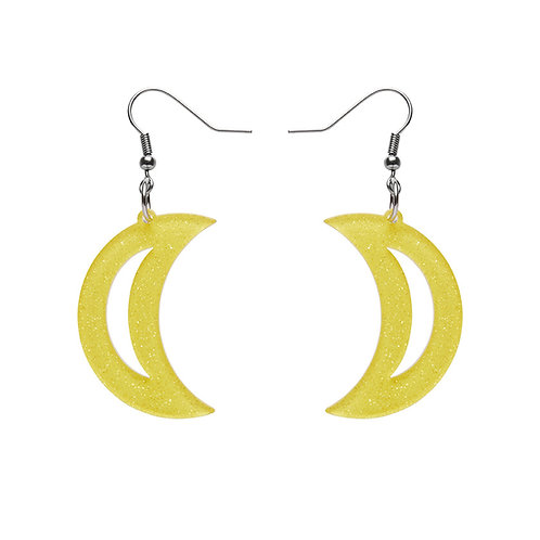 Crescent Moon Glitter Resin Drop Earrings - Yellow
