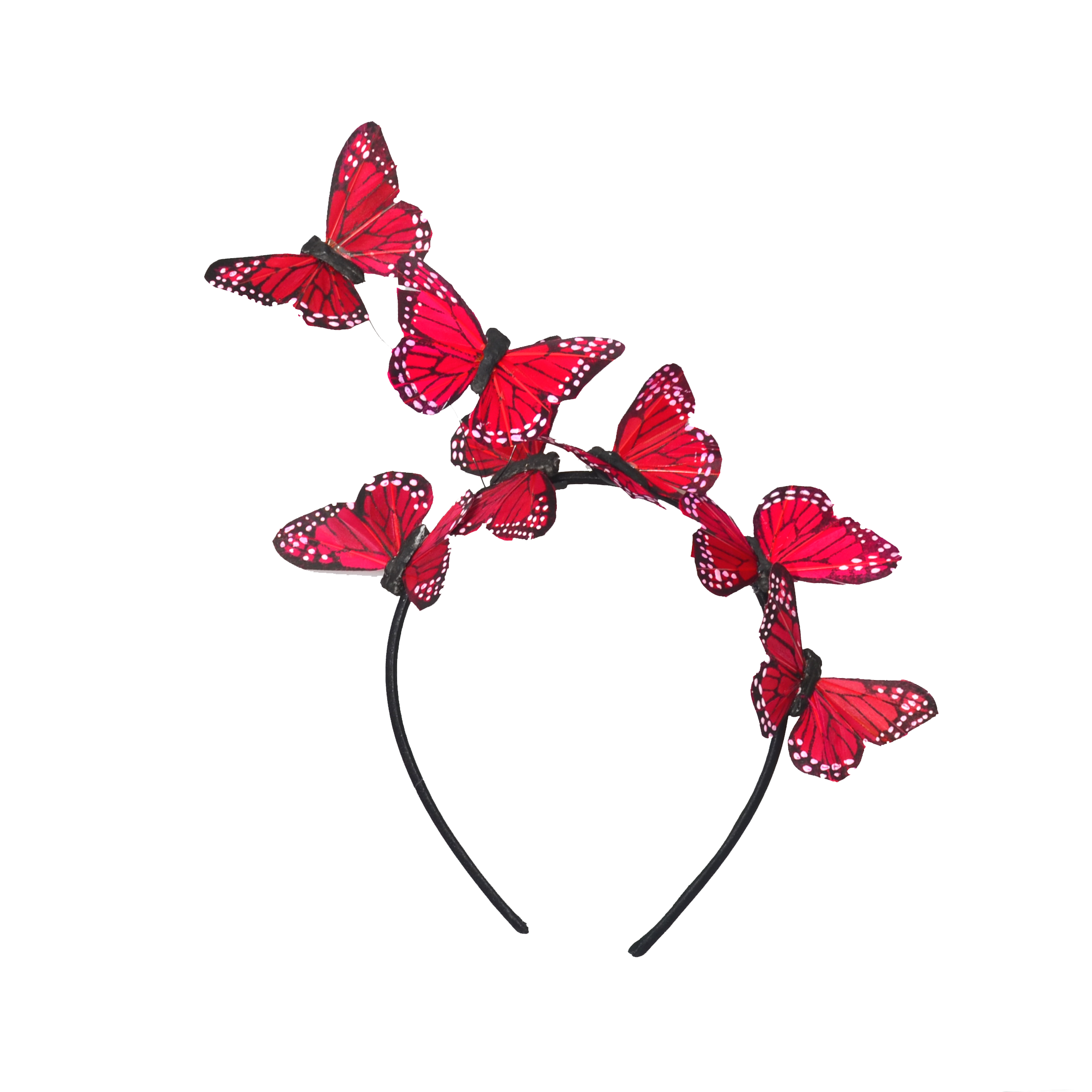 Red Monarch Feather Butterfly Headband Fascinator