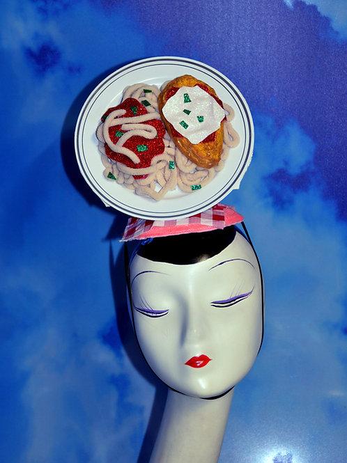 Chicken Parmesan Dinner Plate Tilt Fascinator Hat