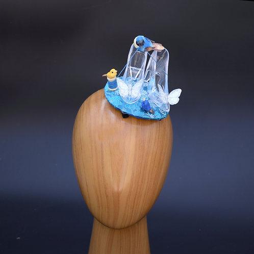 Cinderella Glass Slipper Blue Fascinator Hat with Bird