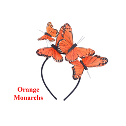 Orange Monarch Feather Butterfly Mariposa Headband Crown