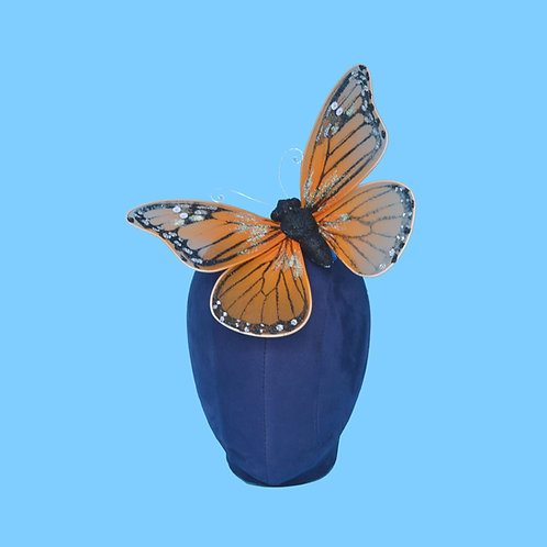 Large Orange Tulle Butterfly Hair Clip | Vegan Fascinator