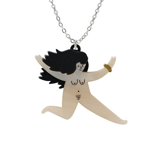 NUDIE LADY NECKLACE by Little Moose   Naked Yoga Lady