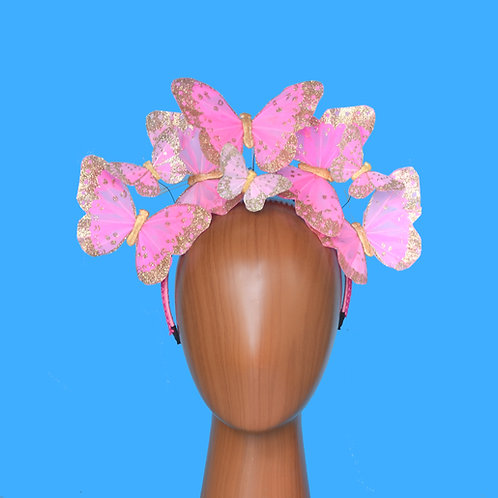 Pink or Pale Pink & Gold Glitter Butterfly Fascinator Headband