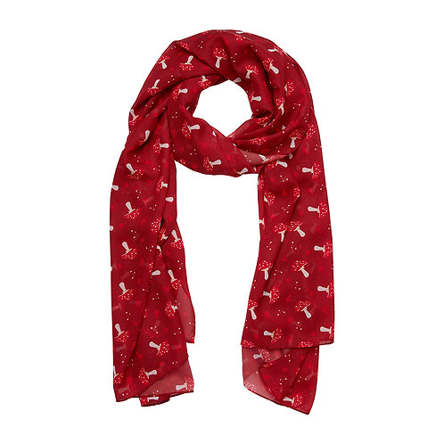 The Spore the Merrier Large Neck Scarf  | Red & White Mushrooms
