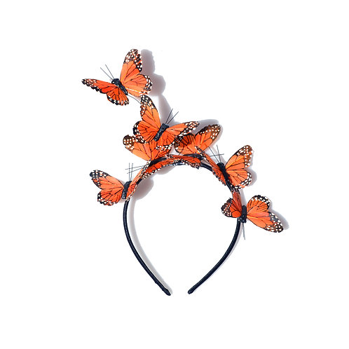 Orange Monarch Butterfly Fascinator Headband