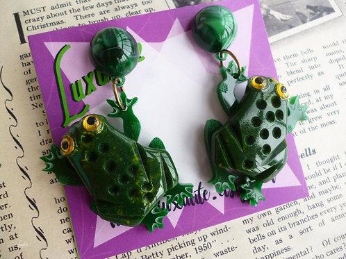 Toads! Mini Toad Earrings - Vintage Bakelite Inspired Halloween Pinup