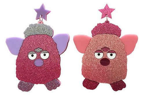 Glitter Pink & Purple Furby Earrings by Yippy Whip
