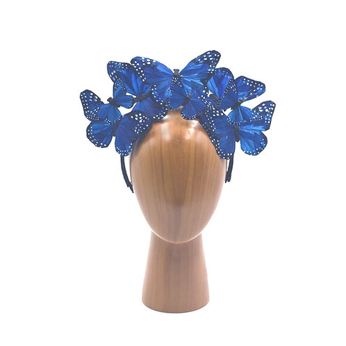 """The """"Anna"""" - Blue Monarch Feather Butterfly Fascinator Headband"""