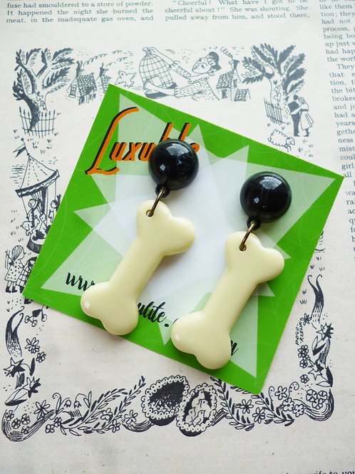 Dem Bones! Novelty Halloween Bone Shaped Earrings - 1940s Bakelite Inspired