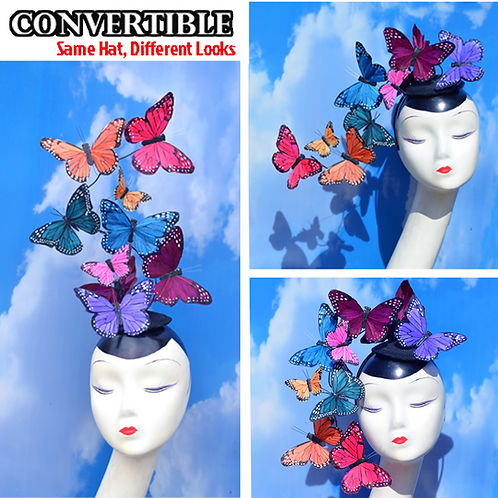 Convertible Rainbow Mixed Color Butterfly Feather Fascinator