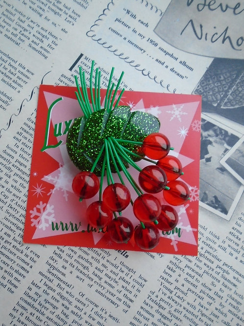 Confetti Lucite Sparkly Green & Red Cherries Brooch