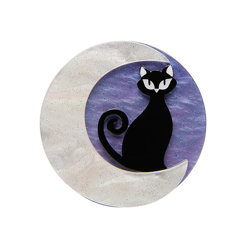 On the Prowl Mini Brooch by Erstwilder | Black Cat & Crescent Moon