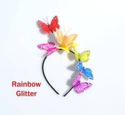 LGBT Rainbow Glitter Feather Butterfly Headband