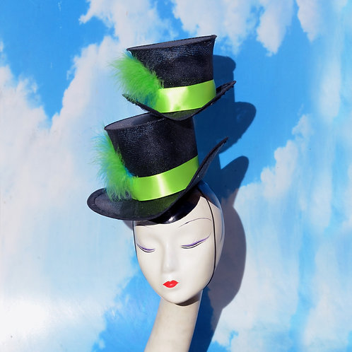 Surrealist Top Hat Stack with Green & Blue Ribbons/Feathers
