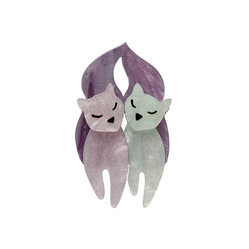 The Love Cats Mini Brooch by Erstwilder | Pastel Purple & White