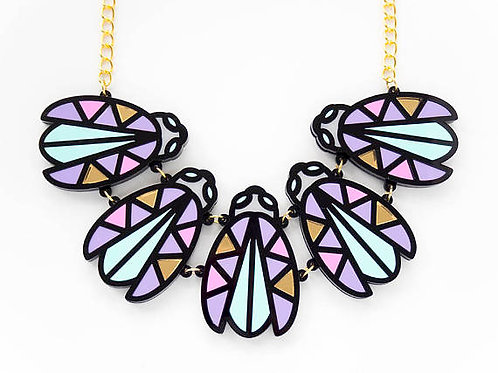 Pastel Insect Bug Beetle Statement Acrylic Necklace by Designosaur