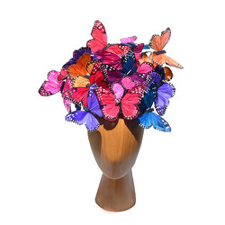 The Madame Butterfly PLUS+ Mixed Color Rainbow Feather Butterfly Swarm Fascinator Hat Hatinator  (2)