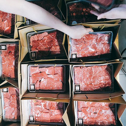 Sliced Sher Wagyu, tray packing, deliver