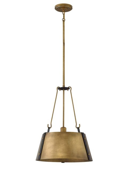 Cartwright Drum Pendant in Rustic Brass