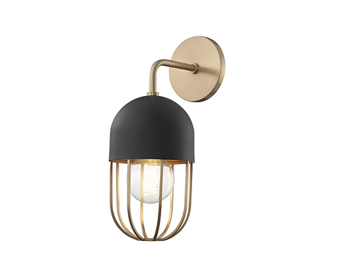 Haley Wall Sconce in Aged Brass/Black